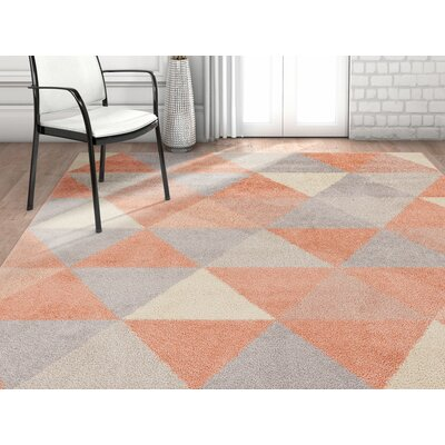 Dumas Geometric Triangle Blush/Light Gray Area Rug Rug Size: Rectangle 710 x 910