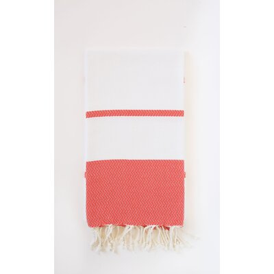 Guest Hand Towel (Set of 2) Color: White/Red