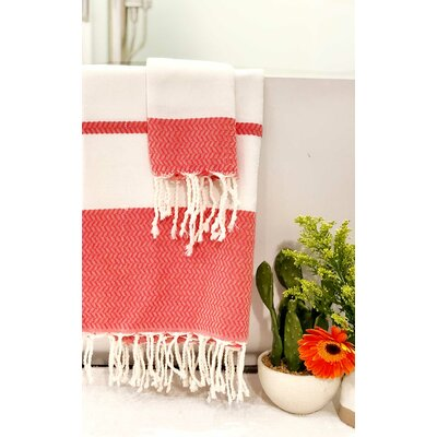 Fouta Beach Towel Color: White/Red