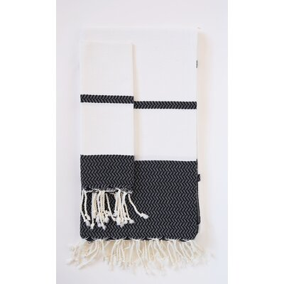 Guest Hand Towel (Set of 2) Color: White/Black