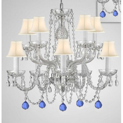 Mellinger Crystal 10-Light Candle-Style Chandelier Shade Color: White, Crystal Color: Blue