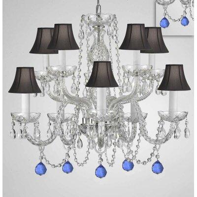 Mellinger Crystal 10-Light Candle-Style Chandelier Shade Color: Black, Crystal Color: Blue