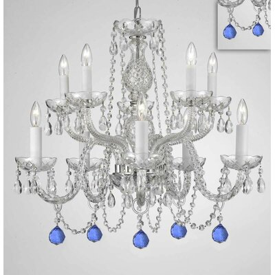 Mellor Crystal 10-Light Candle-Style Chandelier Crystal Color: Blue