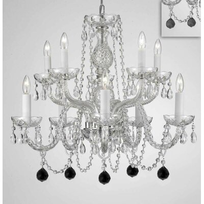 Mellor Crystal 10-Light Candle-Style Chandelier Crystal Color: Black