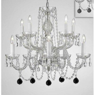 Mellor Crystal 10-Light Candle-Style Chandelier Crystal Color: Black