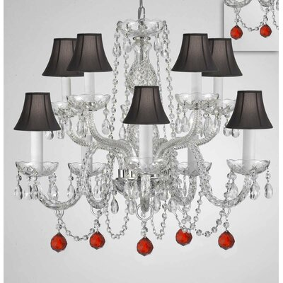 Mellinger Crystal 10-Light Candle-Style Chandelier Shade Color: Black, Crystal Color: Red