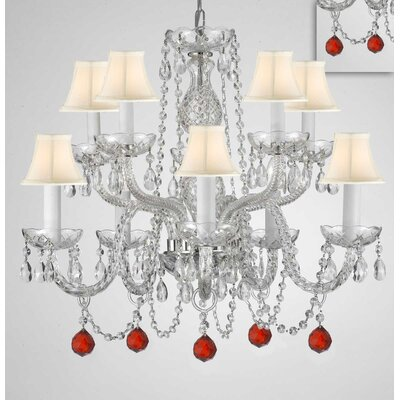 Mellinger Crystal 10-Light Candle-Style Chandelier Shade Color: White, Crystal Color: Red