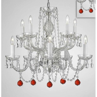 Mellor Crystal 10-Light Candle-Style Chandelier Crystal Color: Red