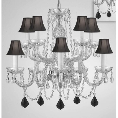 Mellott Crystal 10-Light Candle-Style Chandelier Shade Color: Black, Crystal Color: Black