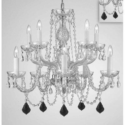 Melnick Crystal 10-Light Candle-Style Chandelier Crystal Color: Black
