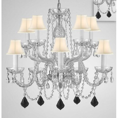Mellott Crystal 10-Light Candle-Style Chandelier Shade Color: White, Crystal Color: Black