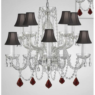 Mellott Crystal 10-Light Candle-Style Chandelier Shade Color: Black, Crystal Color: Mahogany