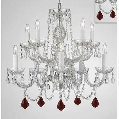 Melnick Crystal 10-Light Candle-Style Chandelier Crystal Color: Mahogany