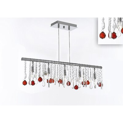 Melton 10-Light Kitchen Island Pendant Crystal Color: Red