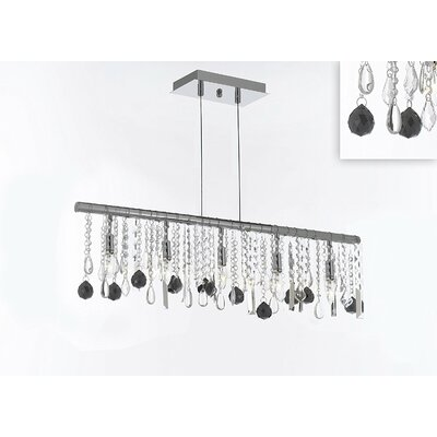 Melton 10-Light Kitchen Island Pendant Crystal Color: Black
