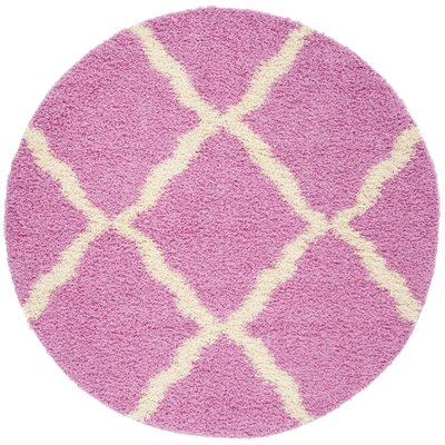 Moores Pink/Ivory Area Rug Rug Size: Round 6
