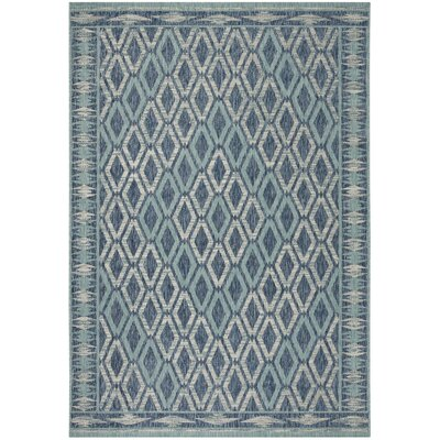 Mathes Navy/Aqua Indoor/Outdoor Area Rug Rug Size: Rectangle 4 x 57