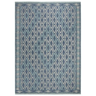Mathes Navy/Aqua Indoor/Outdoor Area Rug Rug Size: Rectangle 9 x 12