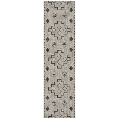 Mathes Gray/Black Indoor/Outdoor Area Rug Rug Size: Runner 2 x 8