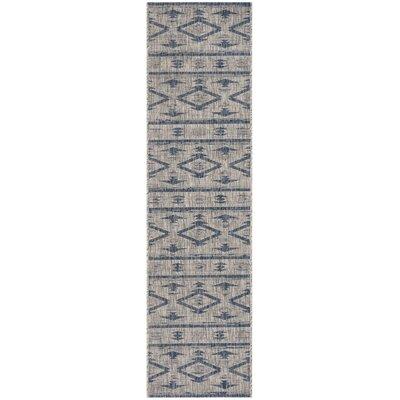 Mathes Gray/Navy Indoor/Outdoor Area Rug Rug Size: Runner 2 x 8