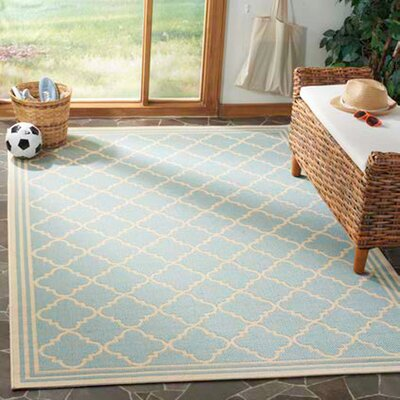 Berardi Aqua/Cream Area Rug Rug Size: Rectangle 4' x 6'