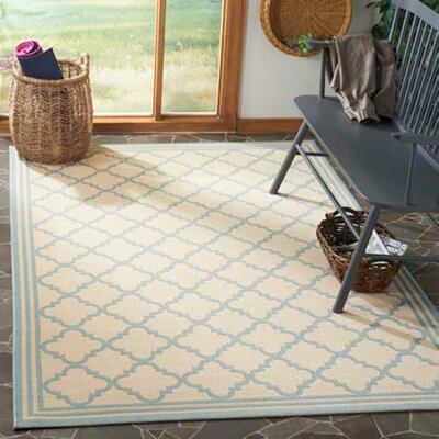 Berardi Cream/Aqua Area Rug Rug Size: Rectangle 51 x 76