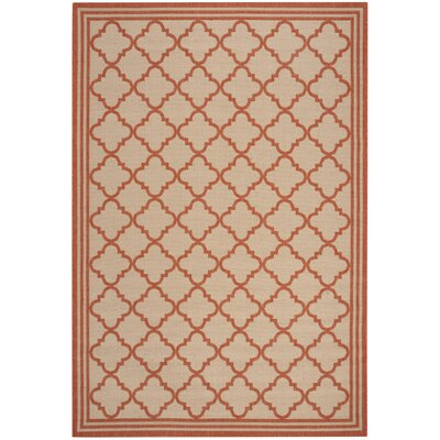Berardi Cream/Rust Area Rug Rug Size: Rectangle 51 x 76