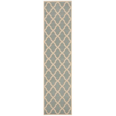Cashion Aqua/Cream Area Rug Rug Size: Runner 2 x 8