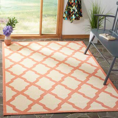 Cashion Cream/Rust Area Rug Rug Size: Rectangle 9 x 12