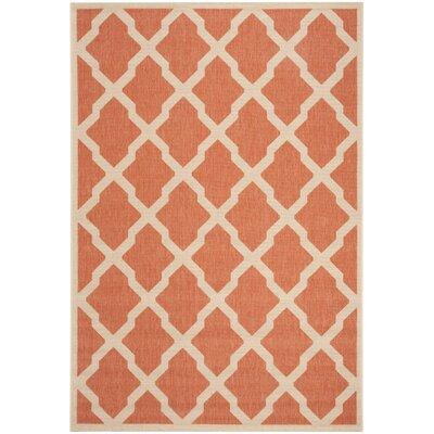 Cashion Rust/Cream Area Rug Rug Size: Rectangle 51 x 76