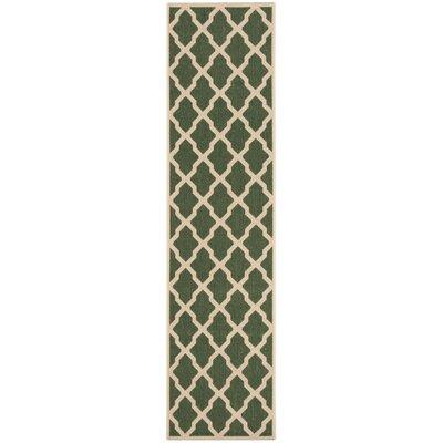 Cashion Green/Cream Area Rug Rug Size: Runner 2 x 8