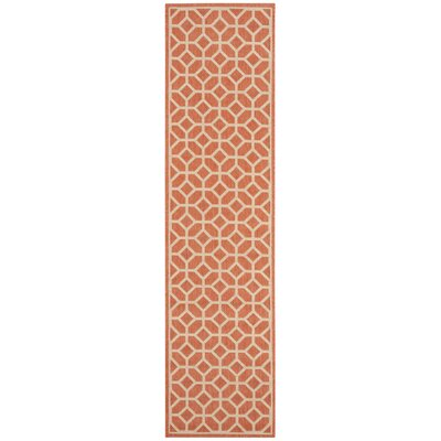Shea Rust/Cream Area Rug Rug Size: Runner 2 x 8