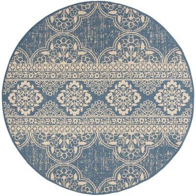 Berardi Cream/Blue Area Rug Rug Size: Round 67