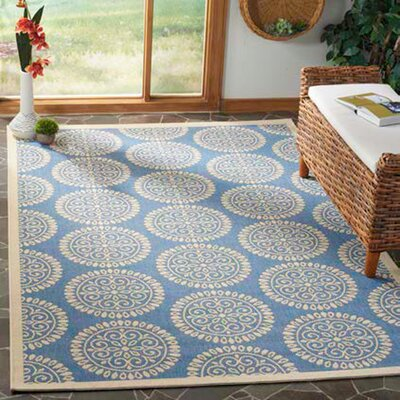Ferrill Blue/Cream Area Rug Rug Size: Rectangle 9 x 12