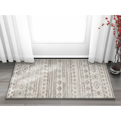Manzi Tribal Geo Waves Light Gray/Ivory Area Rug Rug Size: Rectangle 23 x 311