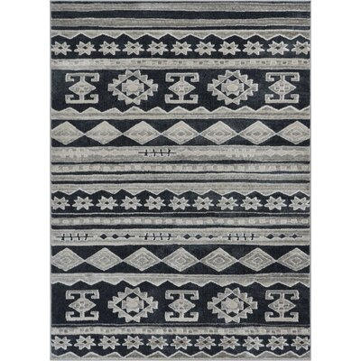 Manzi Tribal Geo Waves Dark Gray/Ivory Area Rug Rug Size: Rectangle 53 x 73