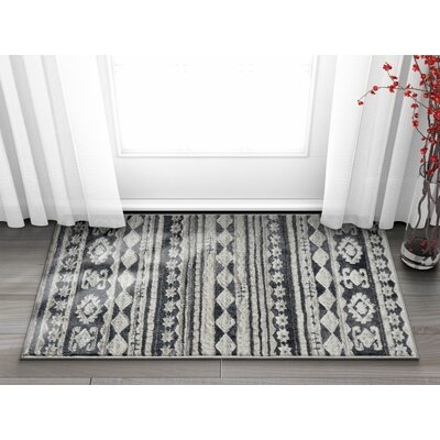 Manzi Tribal Geo Waves Dark Gray/Ivory Area Rug Rug Size: Rectangle 23 x 311