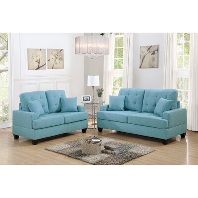 Draughn 2 Piece Living Room Set Upholstery: Blue
