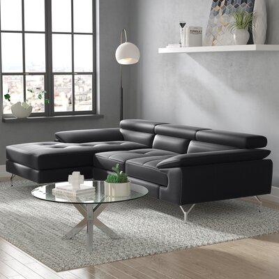 Courtdale Leather Sectional Upholstery: Black, Orientation: Right Hand Facing