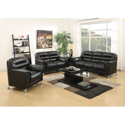 Siegfried 3 Piece Living Room Set Upholstery : Black