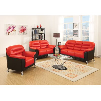 Siegfried 3 Piece Living Room Set Upholstery : Red