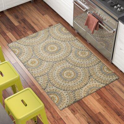 Rocio Mosaic Circle Gray/Beige Area Rug Rug Size: 33 x 5