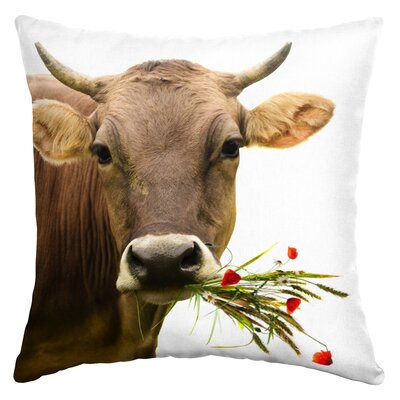 Worthley Cow with Bouquet Outdoor Throw Pillow
