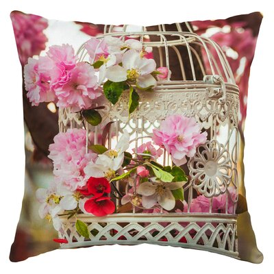 Almeida Floral Birdcage Outdoor Throw Pillow