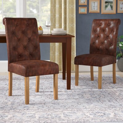 Elda Tufted Upholstered Dining Chair Upholstery Color: Brown