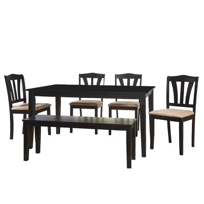 Hysell 6 Piece Dining Set Color: Black