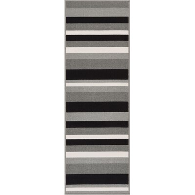 Covey Stripes Gray/Black Area Rug Rug Size: Runner 18 x 5