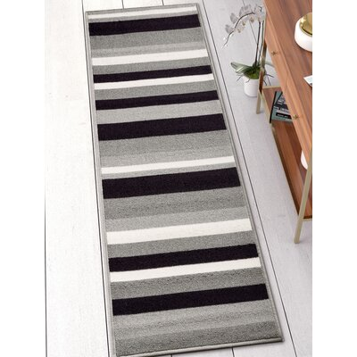 Covey Stripes Gray/Black Area Rug Rug Size: Runner 2 x 7
