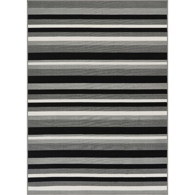 Covey Stripes Gray/Black Area Rug Rug Size: Rectangle 33 x 47