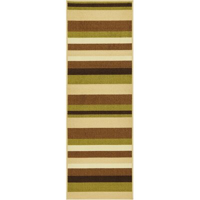 Covey Stripes Green/Ivory Area Rug Rug Size: Runner 27 x 12